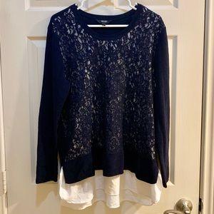 VERA WANG Navy Blue Lace Blouse Sweater